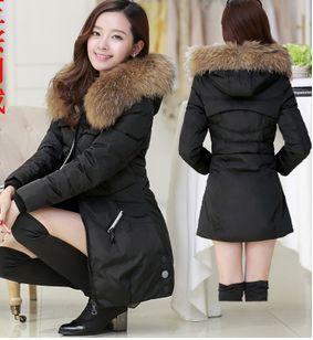 Winter Parka Thick Overcoat Slim Fashion Long   Coat   Outerwear Hooded Colloar With Fur Women Long Duck   Down     Coat   jacket