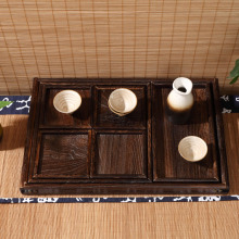 Paulownia Wood Japanese Antique Serving Tray with Lacquer 7 Pieces for Tea, Coffee, and Breakfast Other Food Items