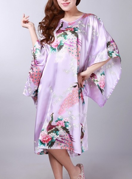 Fashion New Light Purple Womens Polyester Robe Gown Sexy Bath Gown Casual Home Wear Printed Nightdress Dropshipping One Size