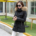 2016 Winter New Fashion Slim Solid Color Medium Long Size Long Sleeve Hooded Thicken Fur Collar Causal Women Down Coat