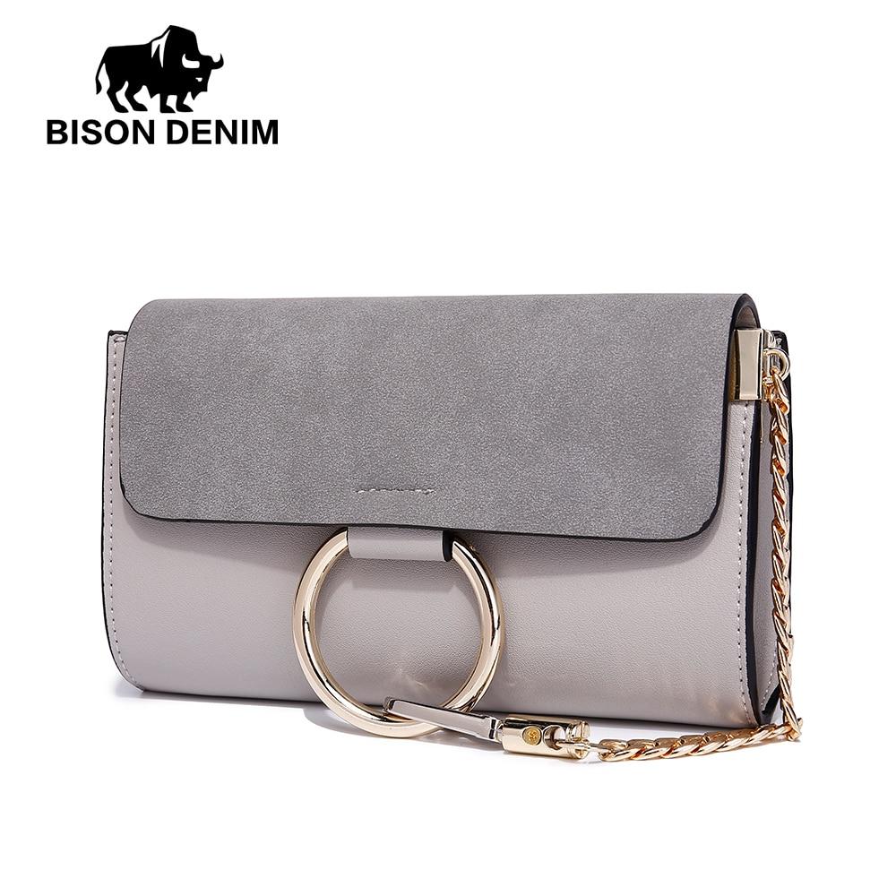 {NEW} BISON DENIM Brand High Quality PU Leather Small Envelope Women Shoulder Messenger Bag Female Crossbody Metal Circle L1414