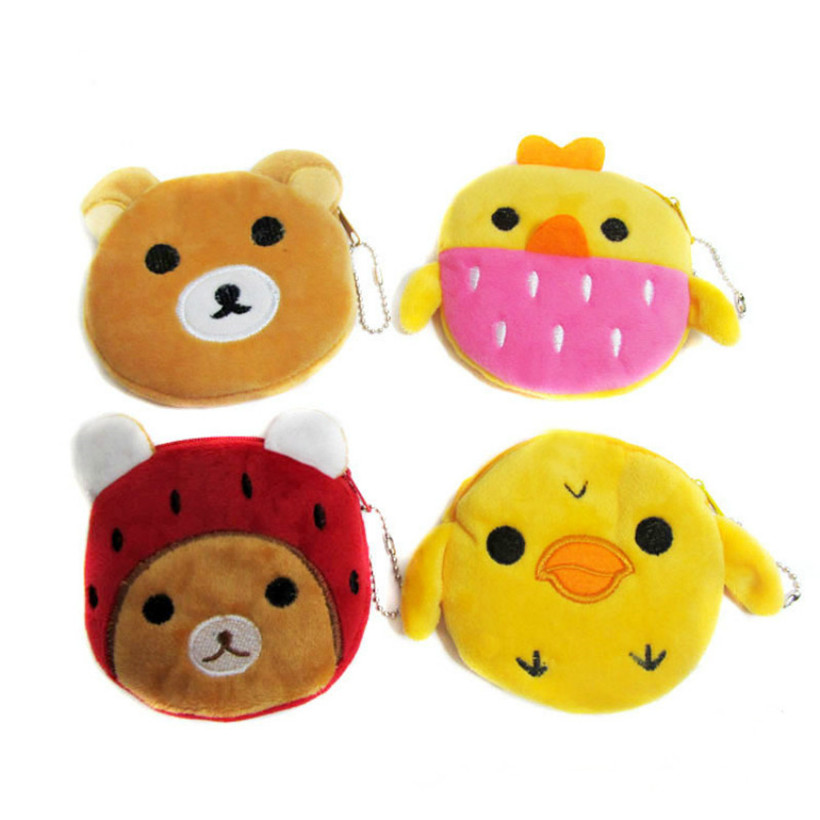 Factory direct selling cartoon animal bear plush coin purse wallets children party activities gift for boys girls factory direct wallet cartoon rabbit high quality plush coin purse activity promotional gifts for children girls