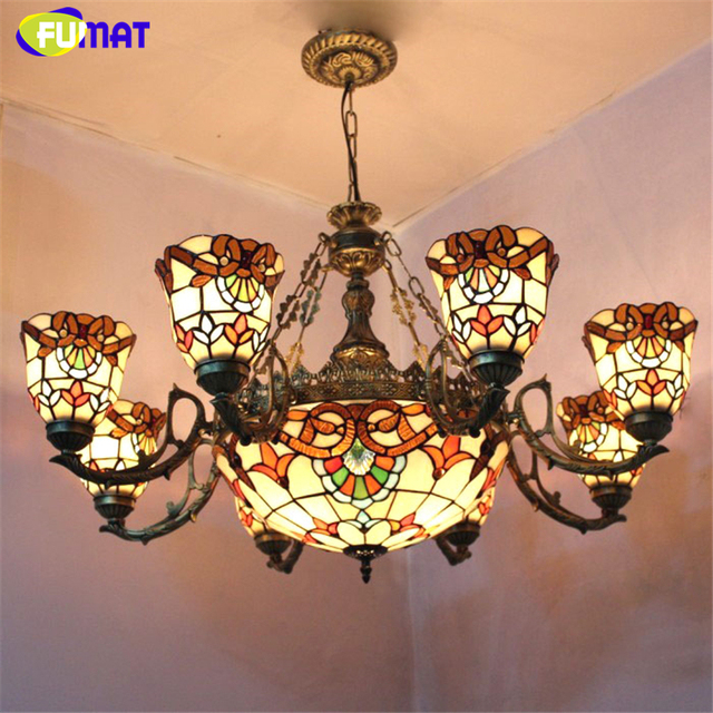 Fuamt Stained Glass Chandeliers European Vintage Shade Suspension Lights Living Room Foyer Artistic Chandelier Lightings