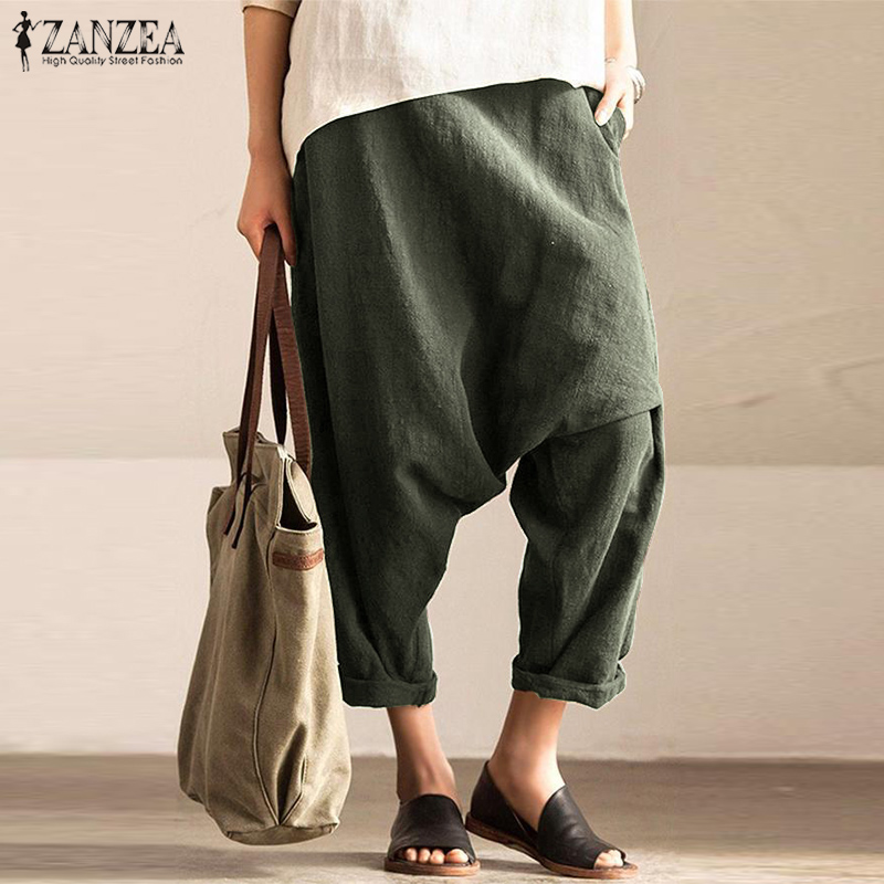 2019 Fashion   Pants   Women Drop-Crotch Long Trousers ZANZEA Vintage Elastic Waist Pockets Pantalones Mujer Baggy   Wide     Leg     Pants