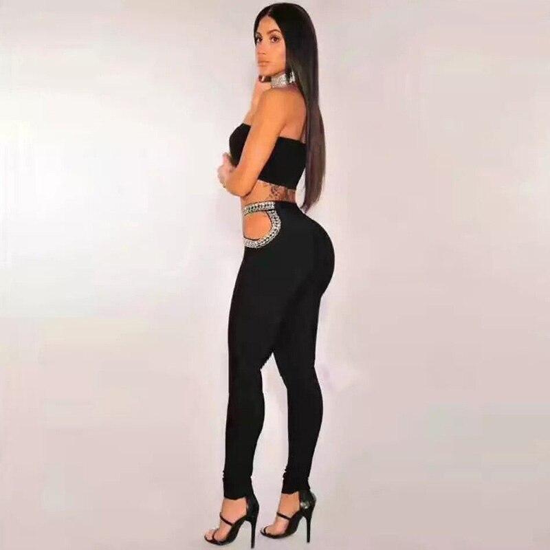 Creux 2 Bretelles Parti Pièces Salopette Perles D'été 2018 Out Mode Femmes Noir Nouvelle Deux Sexy Combinaisons Élégant Badndage mnvN0O8w