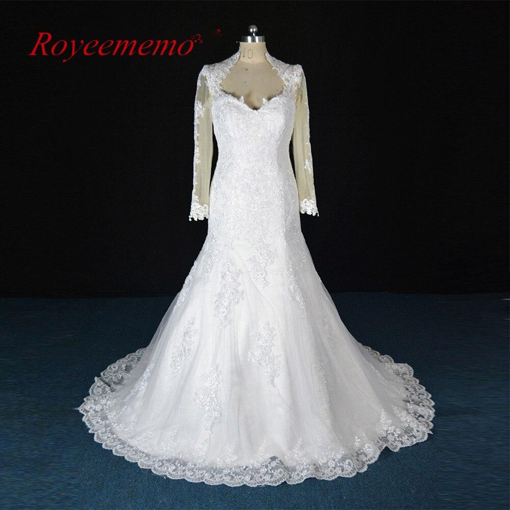 2017 real photo Long sleeve lace mermaid Wedding dress high collar Vestido De Noiva custom made factory directly wedding gown