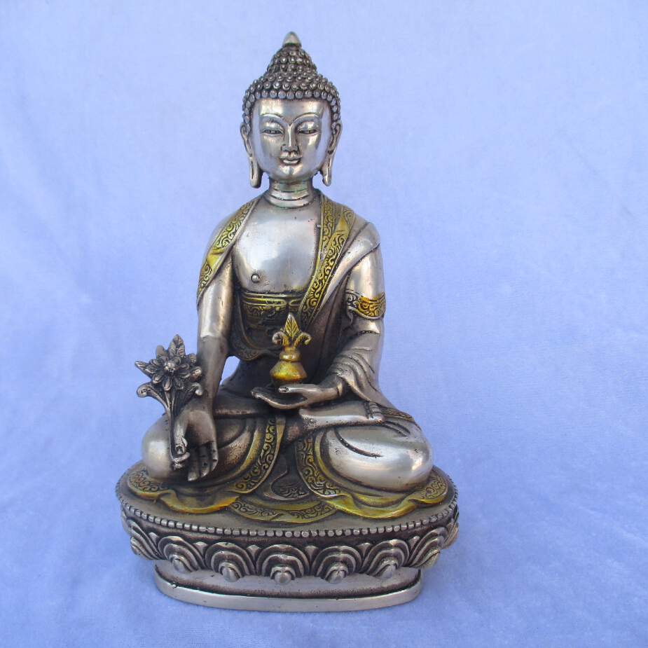 old China Tibet Handmade Iron gilt Buddha statue