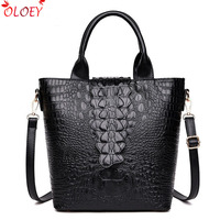 2018 Luxury Alligator Leather Handbags Bags for Women Famous Brand Black Tote Sling Bags Designer Ladies Shoulder Crossbody Bags