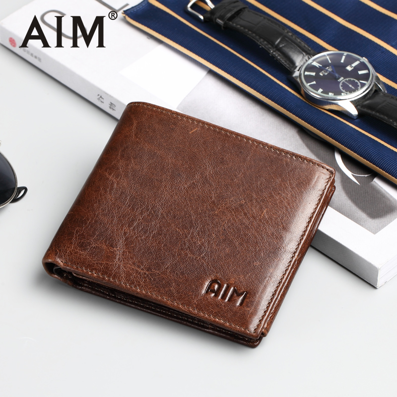 AIM Men Genuine Leather Wallet Vintage Men Coin Purse Money Short Wallets With Card Holder Male Wallet Money Bag SMT001FS cuzdan men wallet male cowhide genuine leather purse money clutch card holder coin short crazy horse photo fashion 2017 male wallets