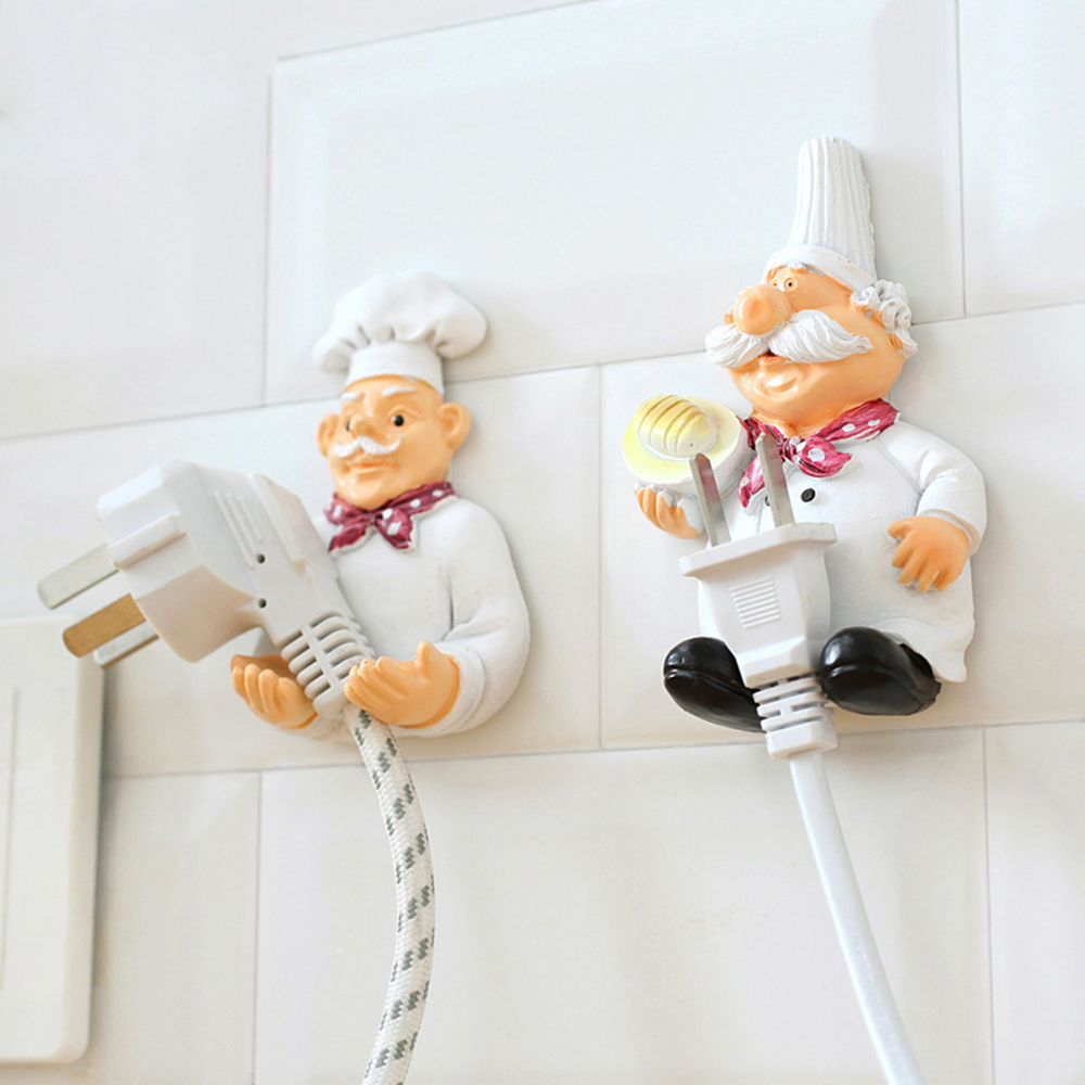 1 PCS Kitchen Cartoon Chef Style Resin Power Cord Storage Rack Wall Hanger Cloth Towel Hooks Sticky Seamless Paste Tight Holder9