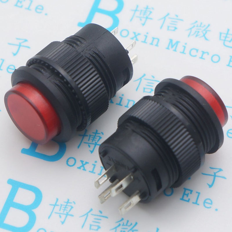 R16-503 rouge-AD avec interrupteur de bouton de commutation de verrouillage de lampe/16mm rond 3 a/250 v