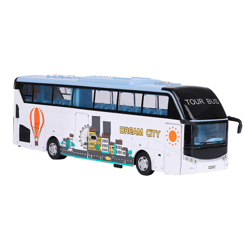 Alloy Diecast Tour Bus Transporter Passage Travel Vehicle Pull Back Action Light&Sound Bus Model Kids Hobby Toys Christmas Gifts 1 43 ankai bus sightseeing tour of london bigbus big bus diecast model bus open top