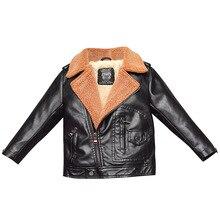 цены на Faux fur coat Toddler girl winter clothes Boys PU Leather Jackets Kids clothes Lapel plus velvet winter jacket Turn-down Collar  в интернет-магазинах