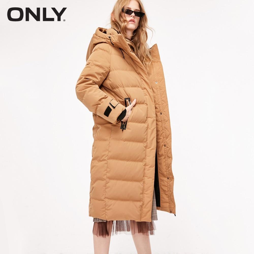 ONLY  Women's Overknee White Duck Down Hooded White Duck Down Jacket |118312566