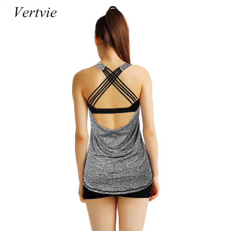 Vertvie New Women Breathable Yoga Shirts Sexy Backless Hollow Out Halter Cross Strap Yoga Vest Tank Tops Fitness Gym Sportswear