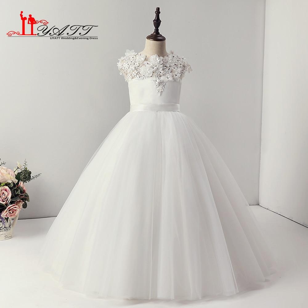 Liyatt New Collection O Neck Balll Gown White Flowers Cheap Cute