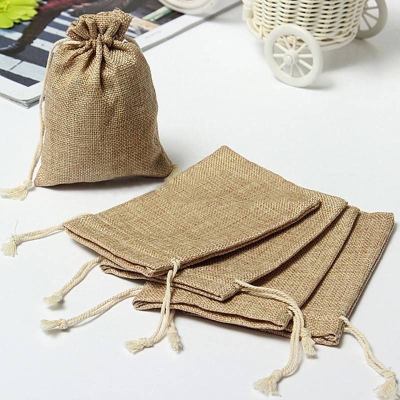 Handmade Drawstring Bag Jewelry Bag Travel Pouch Dry Cotton Linen Small Cloth Bag Storage Bag Package Christmas Gift 6 Sizes