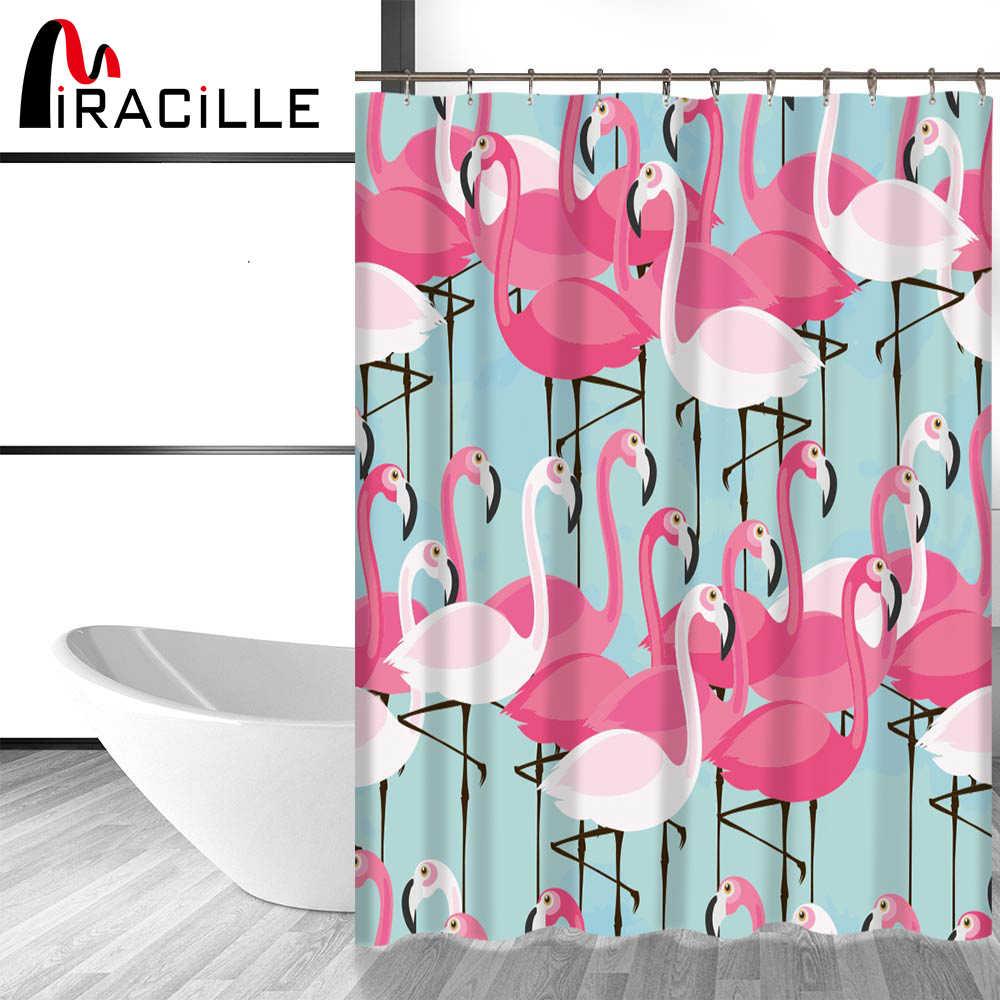 Miracille الوردي فلامنغو الحديثة دش الستار مع ماء البوليستر أقمشة الستائر ل ديكور المنزل 12 السنانير الحمام