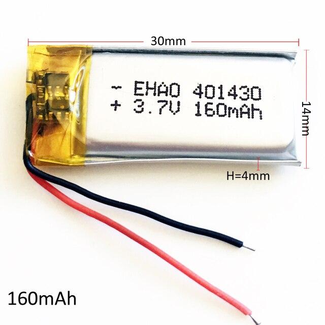 401430 3.7V 160mAh lithium polymère rechargeable Lipo batterie pour MP3 MP4 GPS bluetooth casque vidéo stylo caméra 4x14x30mm
