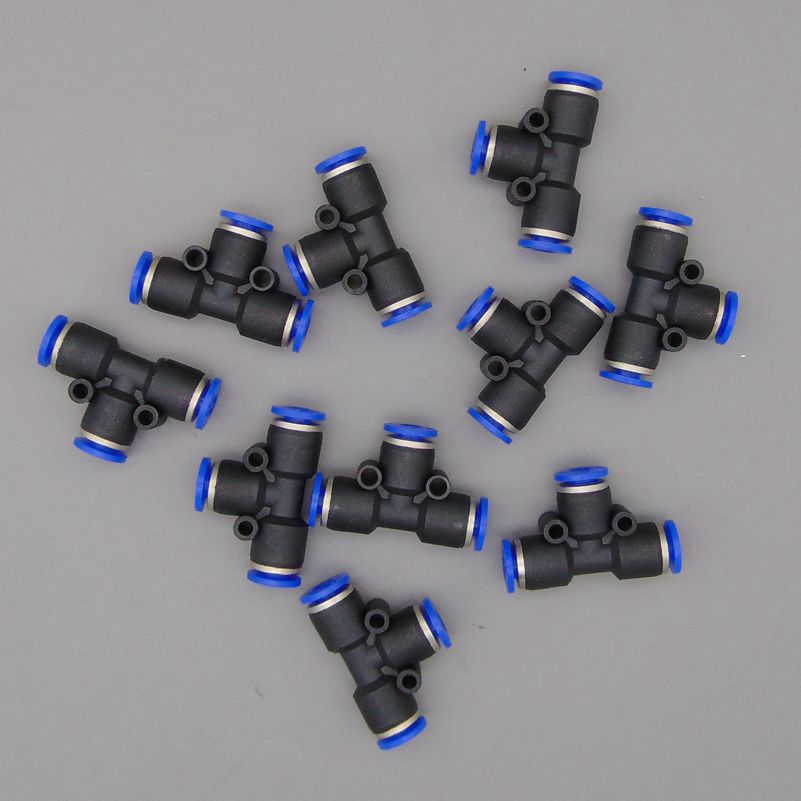 free shipping 10Pcs Pneumatic 6mm to 6mm T Shaped Quick Fitting Connector PE-6 PE1/4 free shipping 30pcs peg 10mm 8mm pneumatic unequal union tee quick fitting connector reducing coupler peg10 8