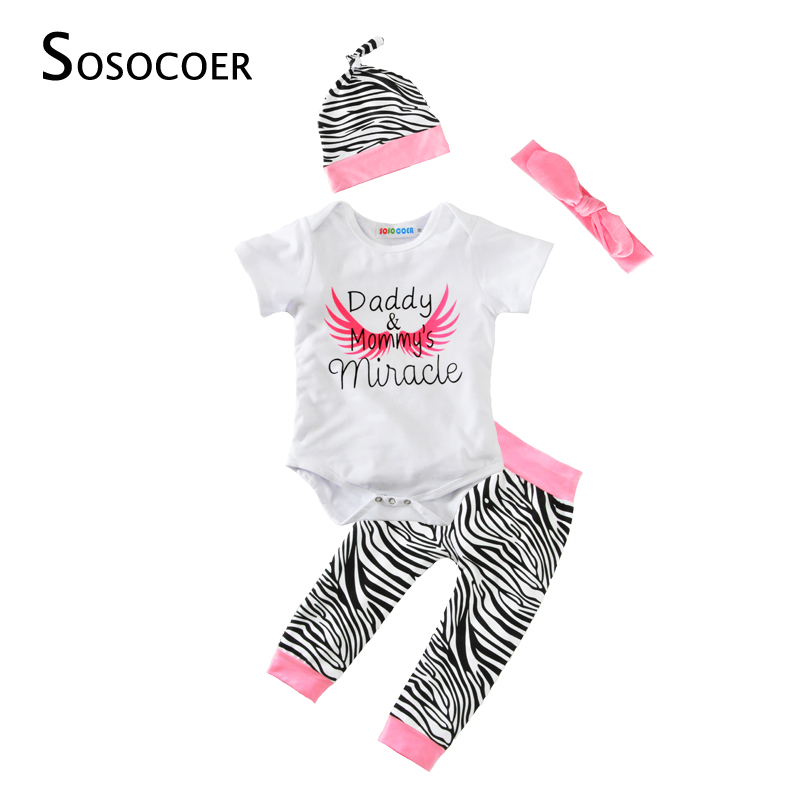 SOSOCOER Baby Girl Boy 4pcs Clothing Set 2017 Summer Daddy Mommy's Miracle Romper+Zebra Pant+Hat+Headband Angel Wing Kid Clothes 3pcs set newborn infant baby boy girl clothes 2017 summer short sleeve leopard floral romper bodysuit headband shoes outfits