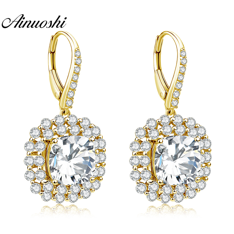 AINUOSHI 10K Solid Yellow Gold Drop Earring SONA Diamond 7ct Cushion Cut Square Halo Earring Women Jewelry Click Back EarringAINUOSHI 10K Solid Yellow Gold Drop Earring SONA Diamond 7ct Cushion Cut Square Halo Earring Women Jewelry Click Back Earring