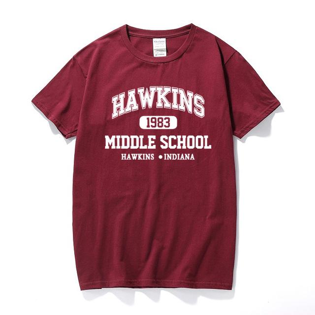 STRANGER THINGS Hawkins High School short sleeve t shirts tee tshirts 100% cotton jersey joggers free shipping