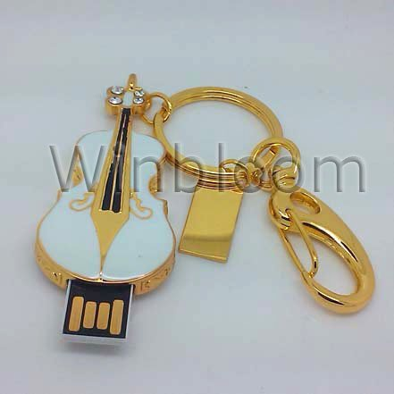 White Epoxy Violin USB Flash Drive 4GB 8GB 16GB 32GB Real Capacity FREE Shipping USB Memory Stick Key Ring JU0048