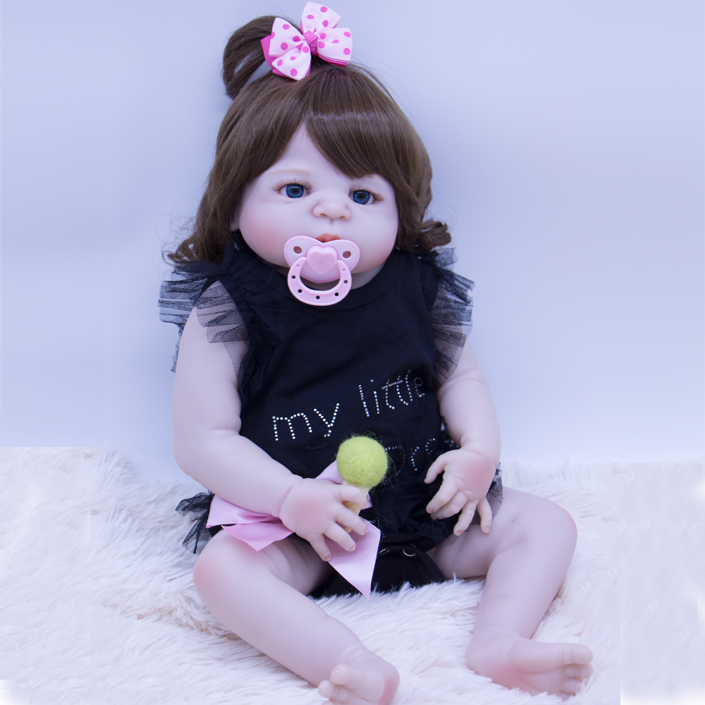 22 Inch Doll Reborn Babies Doll For 55 CM Realistic curls all silicone Alive Reborn Baby Doll and Pink pacifier For girls toy22 Inch Doll Reborn Babies Doll For 55 CM Realistic curls all silicone Alive Reborn Baby Doll and Pink pacifier For girls toy