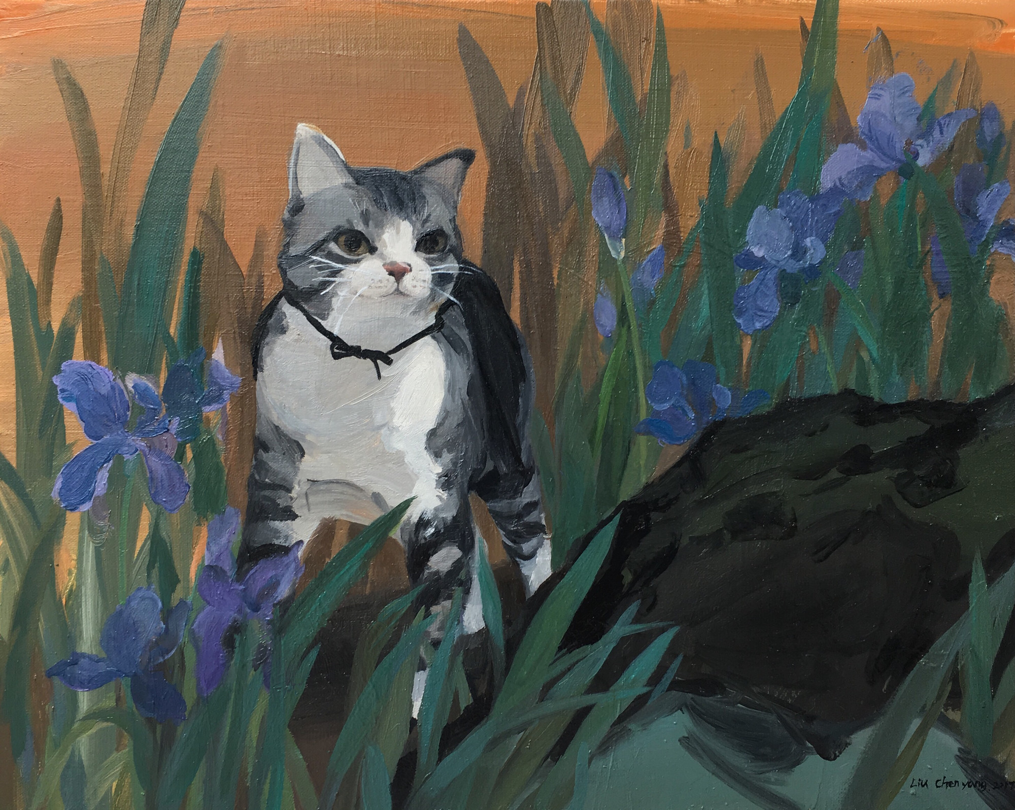 Chinese Artist Liu Chenyang's WorkCat No.4 Oil Painting Wall Art Canvas Nordic Home Decor Picture Kitchen Living Room Bedroom