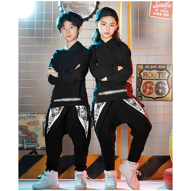 Children Boys Girls Hip-Hop Costumes White Printing Kids Clothing Trendy Jazz/Street Dance Halloween Christmas Party Clothing