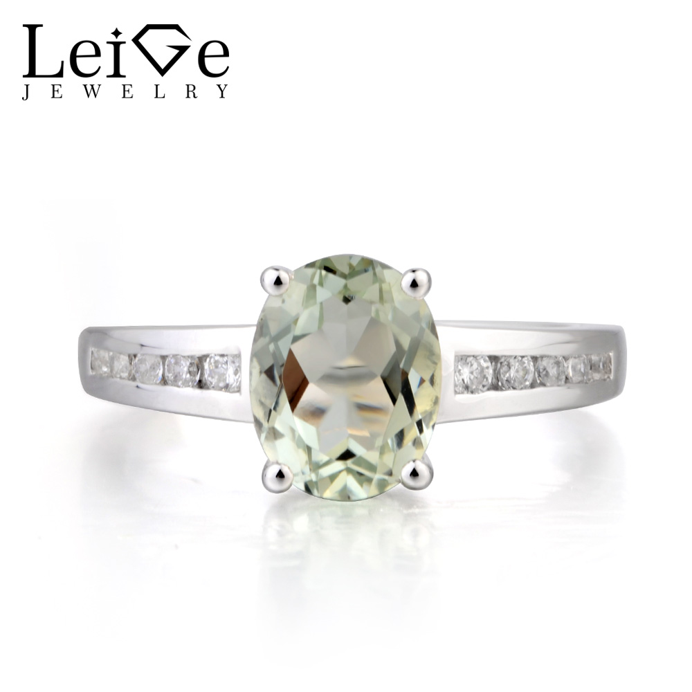 Leige Jewelry Real Natural Green Amethyst Ring Proposal Ring Oval Cut Green Gemstone Solid 925 Sterling Silver Gifts for Women real 18k gold natural amethyst ring for women oval cut big gemstone jewelry modern stylish