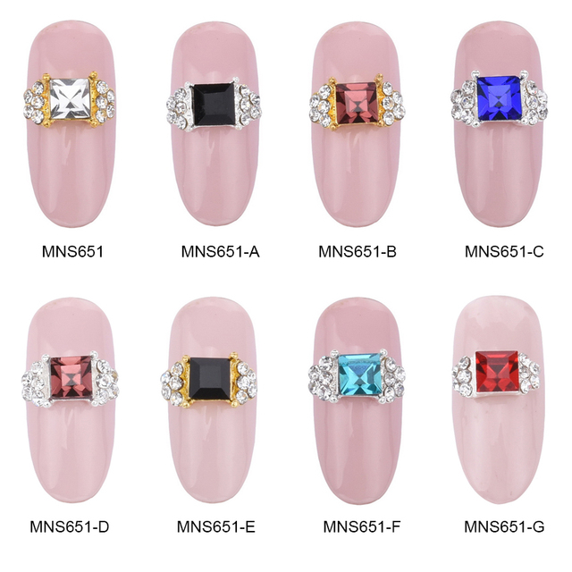 MNS651C nail art gold Square ring 3d nail art charms china beauty ...