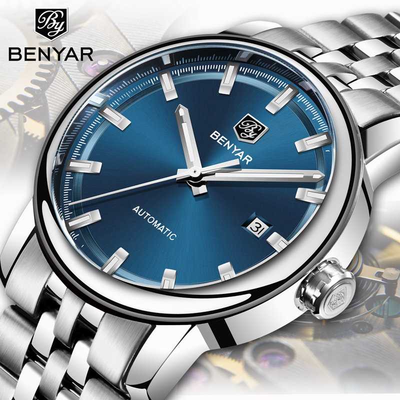 BENYAR Men's Watches Machinery Automatic Watch Men Top Brand Luxury Wristwatch Mens Fashion Male Watches Clock Relogio Masculino-in Mechanical Watches from Watches    1
