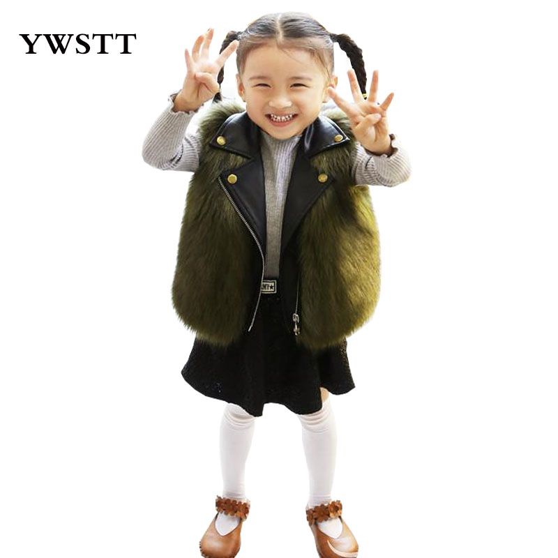 Girls Imitation Fur Vest Baby Boys Winter  Fur Coat Sleeveless Vest Girls Short Style Jackets Imitation the Fox Fur Waistcoat
