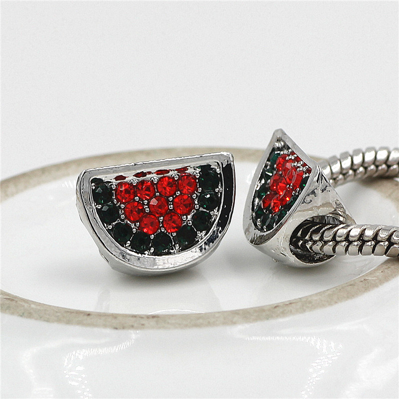 2018 DIY Jewelry watermelon Shape fit Pandora Charm Bracelet for Women Full Rhineston Charm Beads Women Bracelet & bangle
