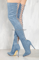 Women Newest Pointed Toe Over Knee Blue Denim Lace up Gladiator Boots Back Cut out Long High Heel Jean Boots Dress Shoes