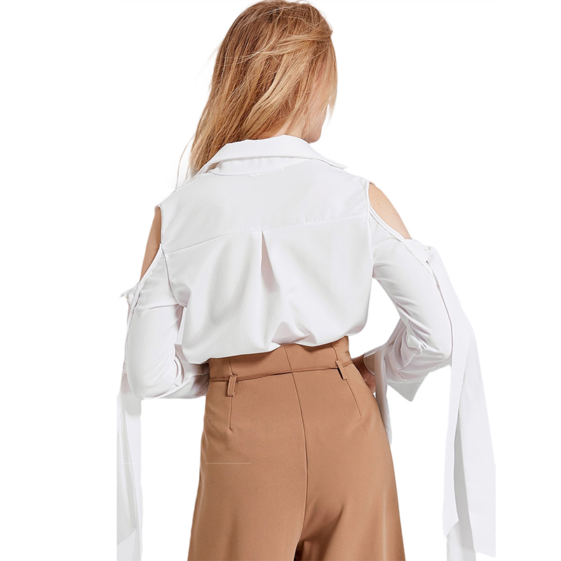 HDY Haoduoyi Brand Women White Casual Shirts Cold Shoulder Lace Up Hollow Out OL Lady Elegant Soft Blouses Sweet Tops Lady in Blouses amp Shirts from Women 39 s Clothing