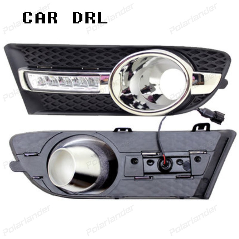 2pcs Daytime Running Lights LED DRL With Fog Lamp Cover Case for Buick Excelle GT High Configuration 2010 -2013
