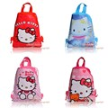 4Pcs Hello Kitty Cartoon Drawstring Backpack Kids School Shoppping Bags,Non Woven,29*22cm,Party favor