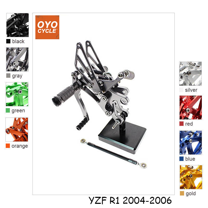 CNC Adjustable Rearsets Foot Rest Foot Pegs Foot Rests For Yamaha YZF R1 2004 2005 2006-in Foot Rests from Automobiles & Motorcycles    1