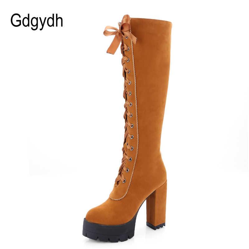 Gdgydh/2018 г. зимние сапоги до колена на шнуровке женские замшевые сапоги Женская Осенняя обувь на высоком каблуке с резиновой подошвой большие размеры 43