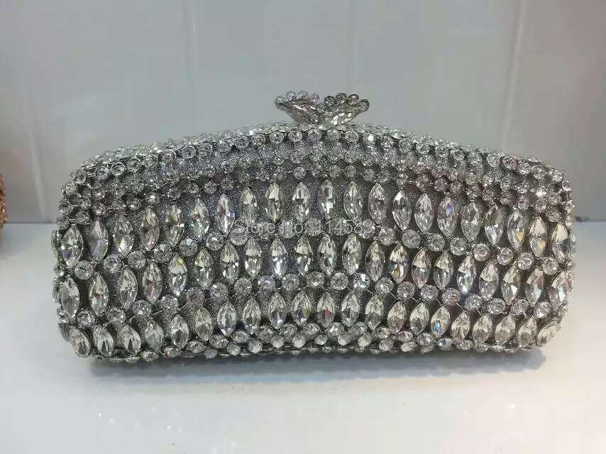 ФОТО 8245S SILVER Crystal lady fashion Wedding Bridal Party Night Metal Evening purse clutch bag handbag case