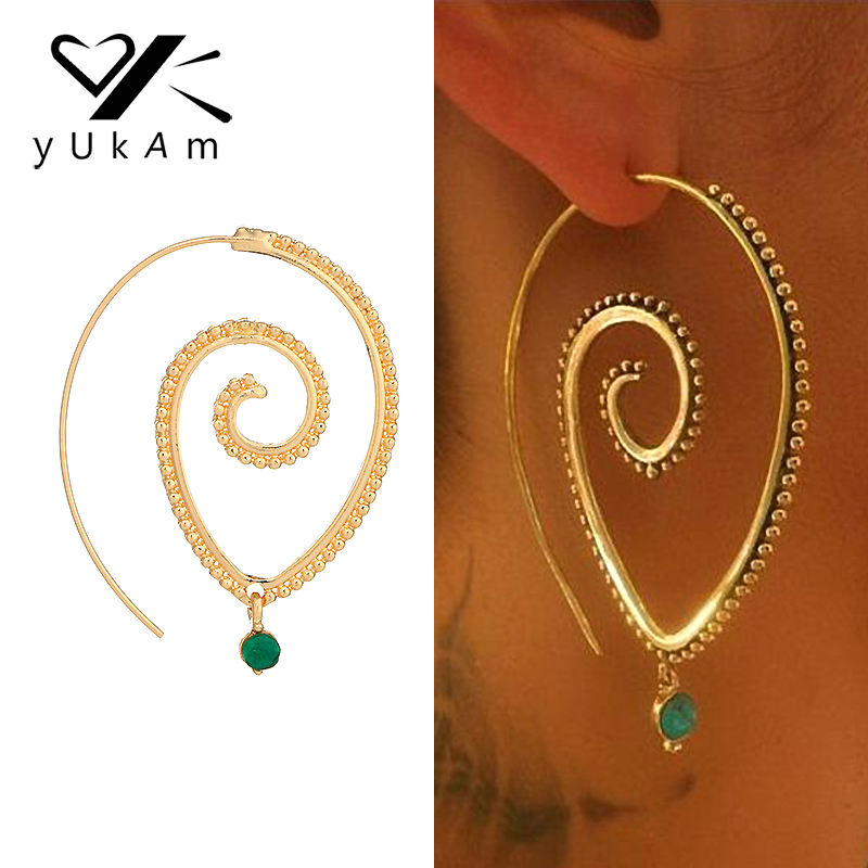 YUKAM Ethnic Personality Steampunk Swirl Hoop Earrings Spiral Piercing Earring for Women Big Circle Earrings Vintage Ear Jewelry
