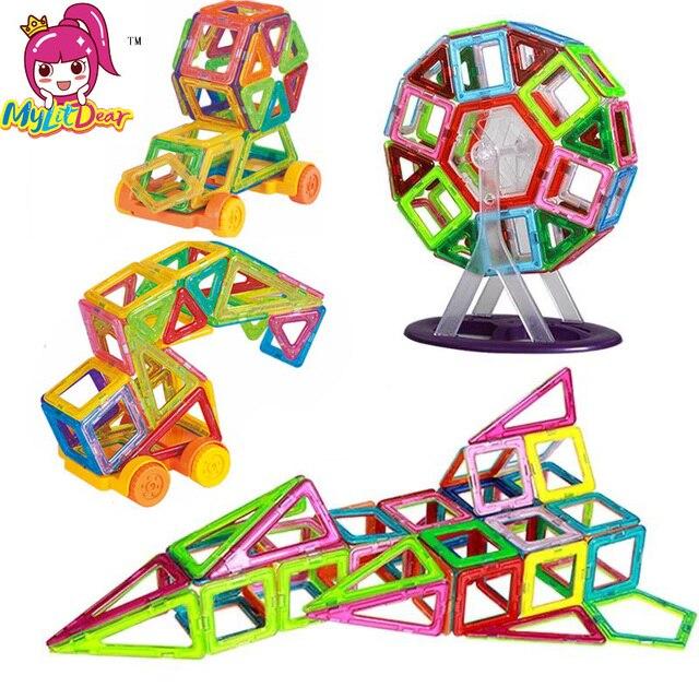 Mini 65PCS Kids Magnetic Blocks Construction Enlighten Assembly Building Blocks Toys Kids Educational DIY Plastic Technic Brick
