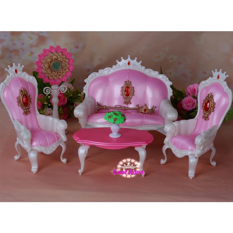 Miniatur Perabot Puteri Ruang Hidup untuk Barbie Doll House Mainan - Anak patung dan aksesori - Foto 2