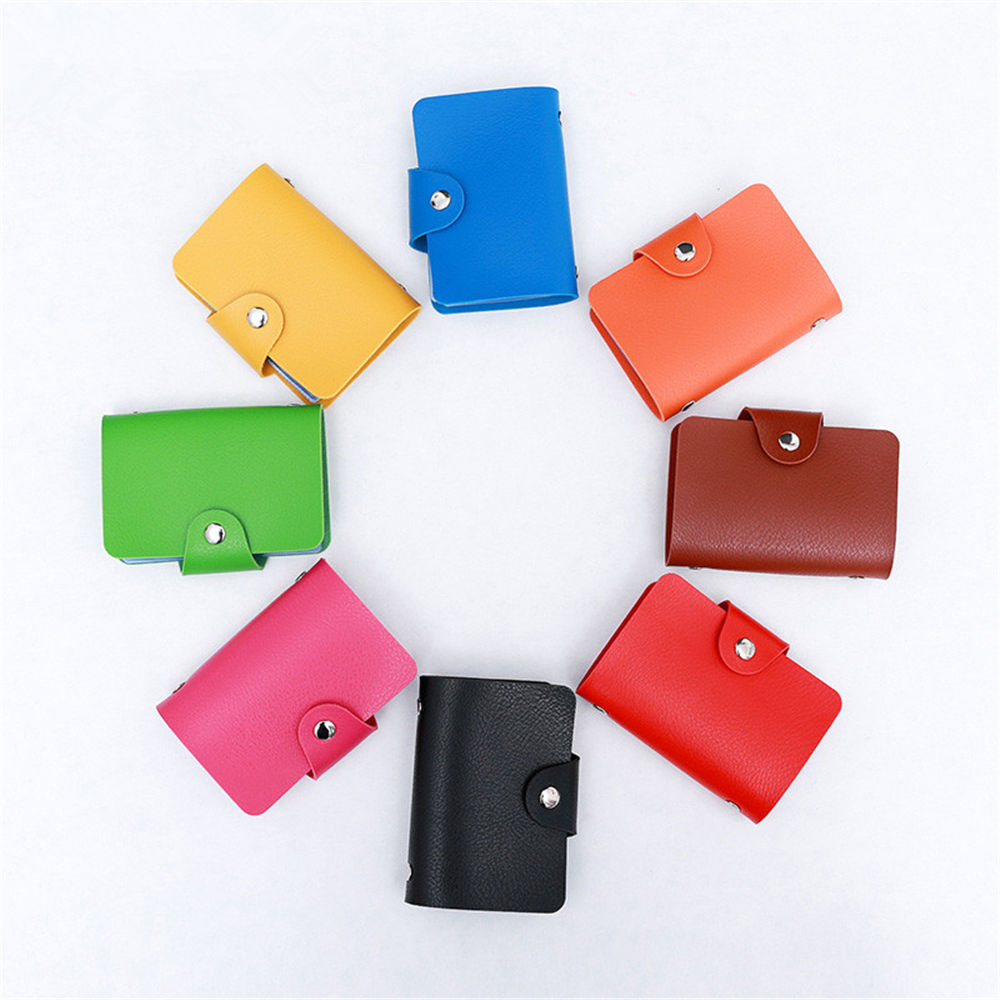 24 Bits Fashion New Women Men Credit Card Holder PU Leather Hasp Unisex ID Holders Package Organizer Manager card cover register