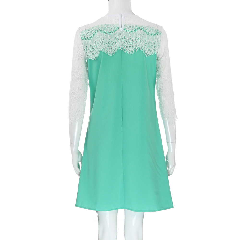 Women Casual Straight Solid Party Lace Dress Loose Mini Dresses ...
