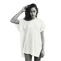 Aktif Uzun T Shirt Kadın Harajuku Tumblr BTS Kpop Vegan Kyliejenner Kendall Jenner Baggy Tee Üstleri Kız Gang Giyim Artı boyutu