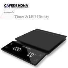 Бытовые электрические весы Портативный 3 кг/0,1g капельного Кофе шкала с электронной цифровой таймер Кухня высокоточные весы светодиодный